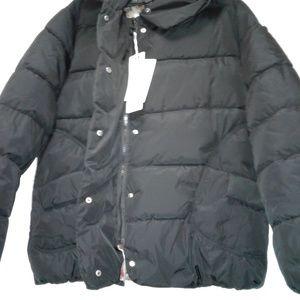 Women's Puffed Black Coat 2XL Hooded Parka